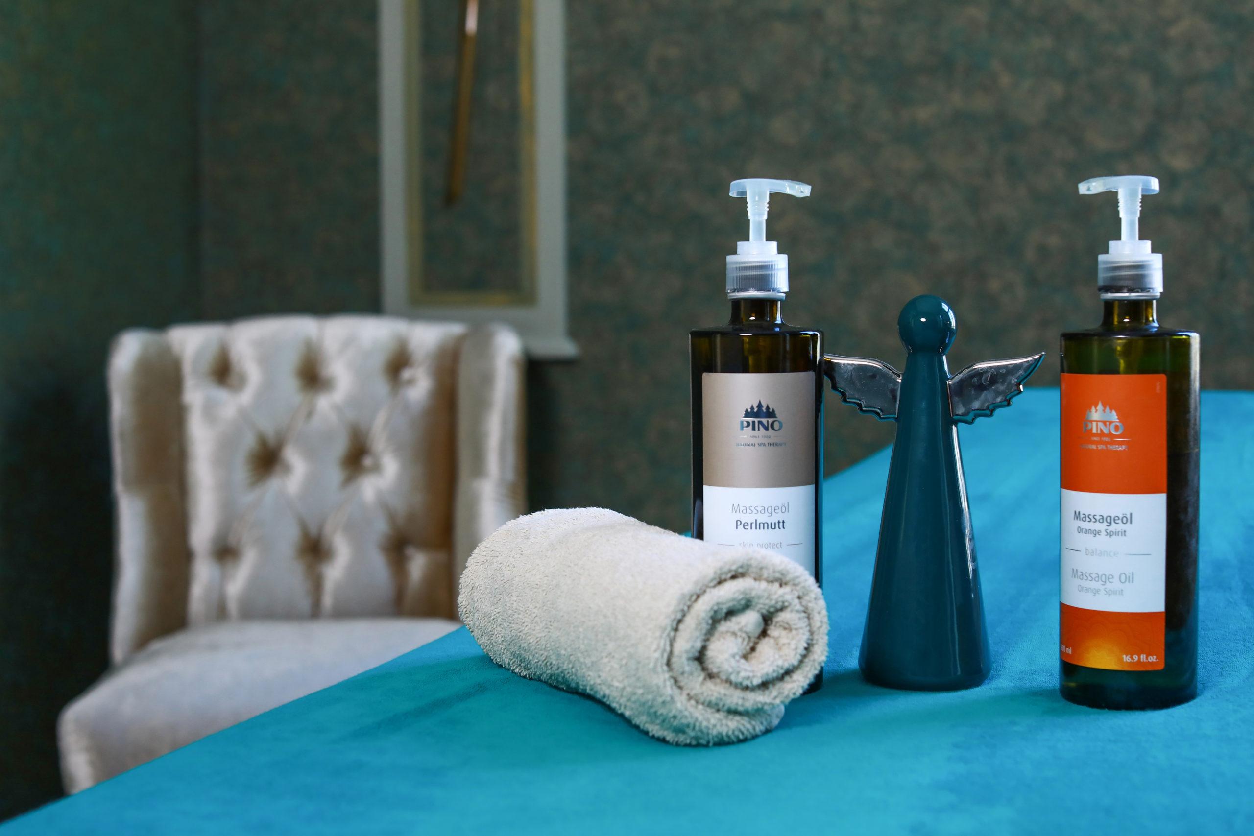 Hochwertige Massageöle für unsere Behandlungen
